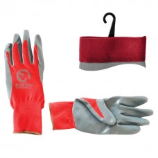 Перчатка красная вязанная синтетическая, покрытая серым нитрилом на ладони 10