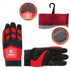 Перчатка Microfiber тканевая красная с черными вставками спандекса на ладони утолщенное неопреном 10